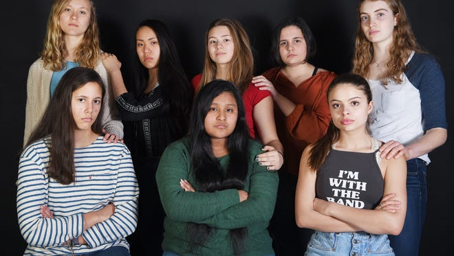 The organizers of March for Our Lives Asheville March 9, 2018. Front row, from left, Molly Dorgan, Jessica Villatoro and Hannah Kepple. Back row, from left, Olivia Senor, Audrey Meigs, Aryelle Jacobsen, Elizabeth Leonard and Bryn Copenhaver.