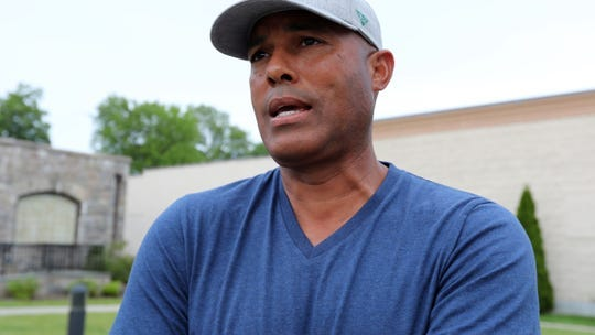 Hall of Fame pitcher and former Yankee, Mariano Rivera talks outside the Refuge of Hope church during a protest march in New Rochelle on Wednesday, June 3, 2020.