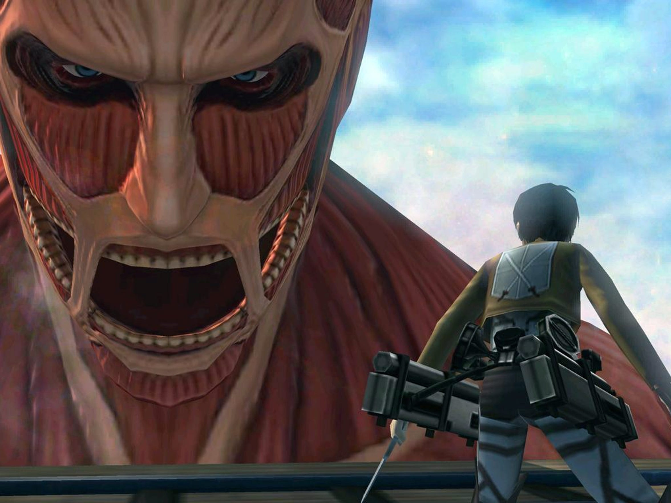 "Shoot across rooftops and walk on walls while battling gigantic foes in ""Attack on Titan: Humanity in Chains,"" for the Nintendo 3DS."