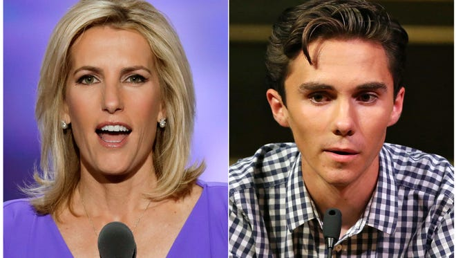 In this combination photo, Fox News personality Laura Ingraham speaks at the Republican National Convention in Cleveland on July 20, 2016, left, and David Hogg, a student survivor from Marjory Stoneman Douglas High School in Parkland, Fla., speaks at a rally for  gun control legislation in Livingston, N.J. on  Feb. 25, 2018.