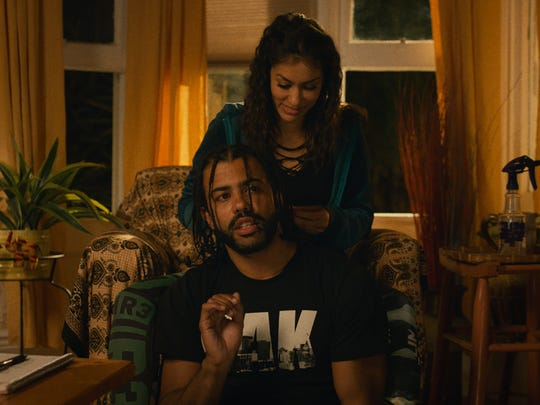 "Daveed Diggs (front) and Janina Gavinkar star in the comedy ""Blindspotting"" (July 27), which explores race and class in Oakland."