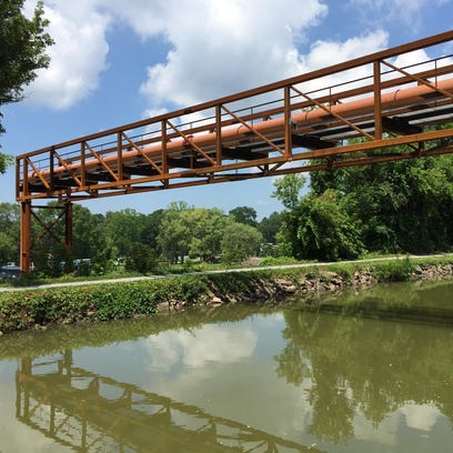 The new pipeline bridge over the Erie Canal in Perinton.