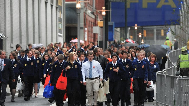FFA students from across the United States marked the start of their national convention in Downtown Indianapolis in October 2011. The state will contribute $4.5 million in incentives, or $500,000 a year, to keep the convention in Indianapolis through 2024, sources familiar with the agreement said.
