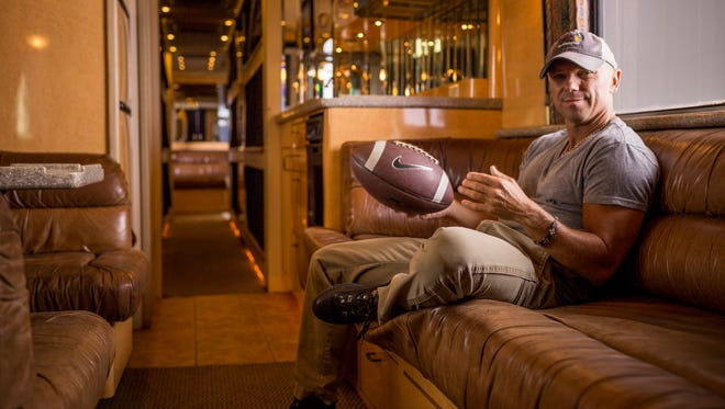 Kenny Chesney on his longtime tour bus, Moby, photographed Aug. 25, 2014, in Nashville. Chesney will release his new album, 'The Big Revival,' on Sept. 23.
