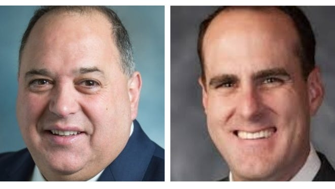 Former Norfolk County Sheriff Michael Bellotti, left, and Quincy City Councilor Brad Croall will both be on the primary election ballot for the Norfolk County Treasurer's seat.