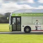 The bus, pictured, runs on human waste.