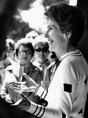 Nancy Reagan talks to supporters of her husband's campaign for the 1976 Republican presidential primary at Jack London's home and ranch in Glen Ellen, Calif. on April 7, 1976.