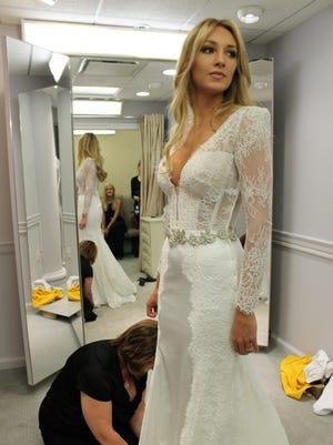 Jaclyn Schultz at her wedding dress fitting at Kleinfeld Bridal in Manhattan.