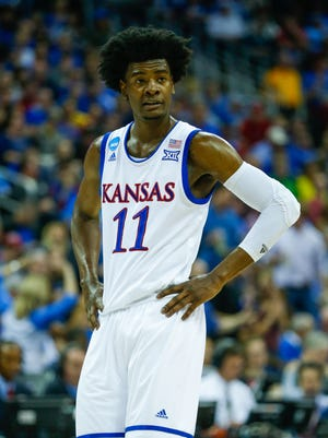Mar 25, 2017: Kansas Jayhawks guard Josh Jackson (11) reacts during the first half of the game against the Oregon Ducks in the finals of the Midwest Regional of the 2017 NCAA Tournament at Sprint Center. Oregon defeated Kansas 74-60.