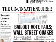The Sept. 30, 2008, front page of the Cincinnati Enquirer.