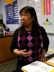 Science teacher Cynthia Montano Brown talks during an interview on Wednesday in her classroom at Newcomb Middle School.