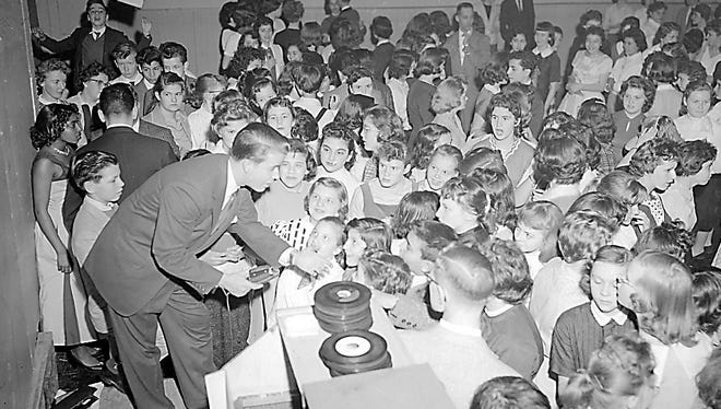 """""""American Bandstand's"""" Dick Clark hosts a record hop at Vineland's former Palm Gardens club in 1958.  The Palm Gardens was located on South Seventh Street, next door to the Vineland Times Journal."""