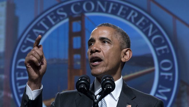 President Barack Obama speaks at the Annual Meeting of the U.S. Conference of Mayors in San Francisco, Friday, June 19, 2015.