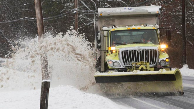 Road crews keep Route 9 in Ocean County clear for the most part as the Noreaster and its snow rolls through.
