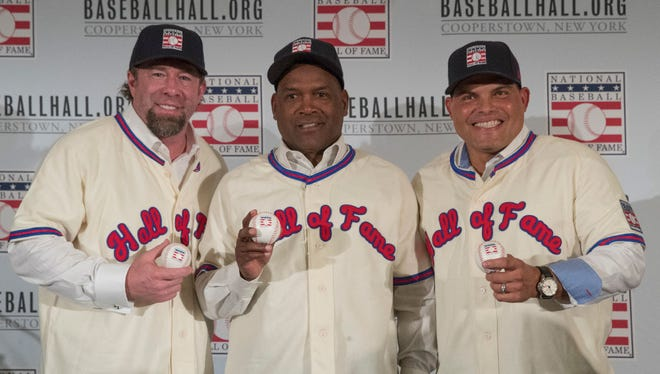 Baseball's 2017 Hall of Fame class: (From L. to R.) Jeff Bagwell, Tim Rainez and Ivan Rodriguez