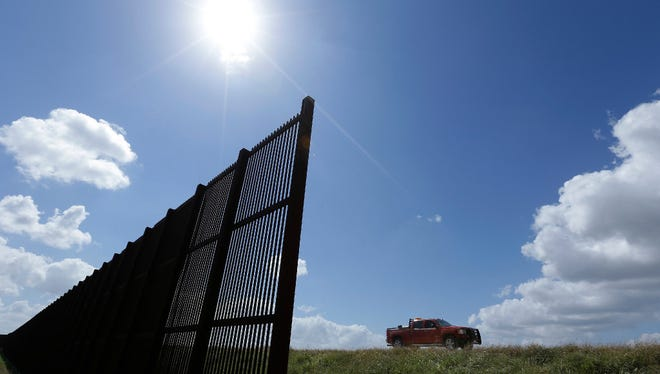 A U.S.-Mexico border fence that passes through Brownsville, Texas.