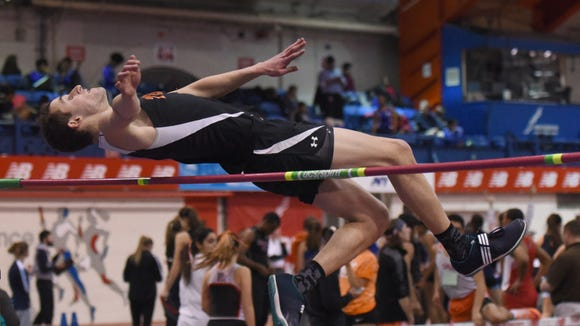 Tenafly senior Ben Stein competing in the high jump during the pentathlon at the Bergen County championships at The Armory.