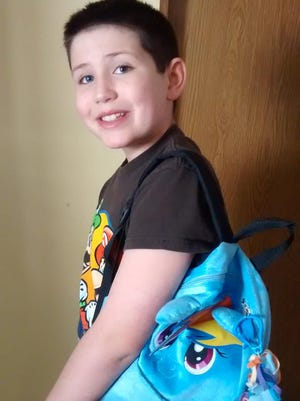 Grayson Bruce, 9, brought this backpack to school earlier this month as his lunchbox. Grayson's mom said he was bullied so severely he refused to go into school.