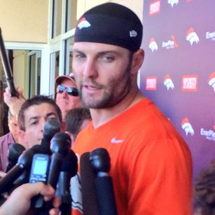 Wes Welker speaking to the media during practice on Wednesday.