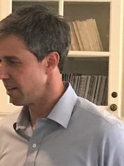 Beto O'Rourke talks to the media before speaking with