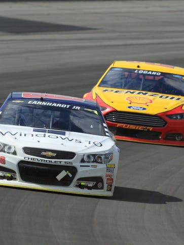 Dale Earnhardt Jr. front, Joey Logano and Kyle Busch