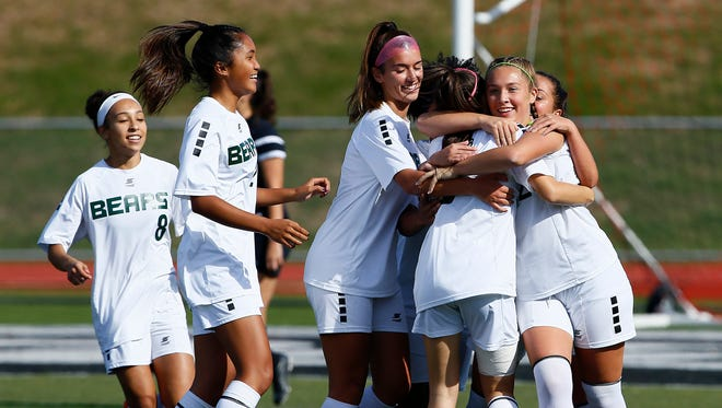 East Brunswick vs. Old Bridge in the Greater Middlesex Conference Tournament girls soccer final at Woodbridge High School.  October 28, 2017. Woodbridge, New Jersey