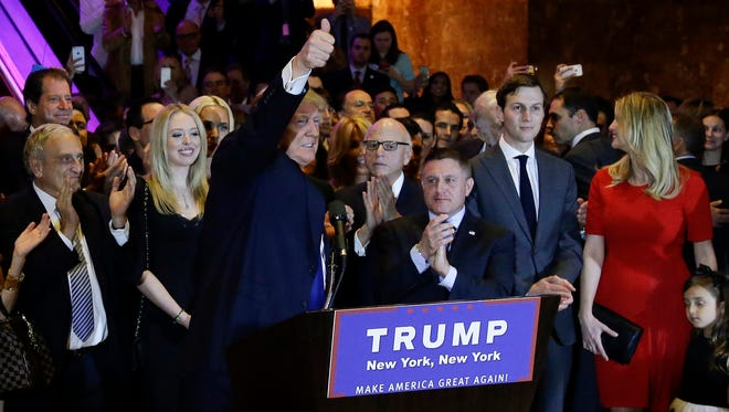Donald Trump arrives to speak during a primary night campaign event on April 19, 2016, in New York.