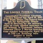 The Lincoln Funeral Train marker in Indianapolis.