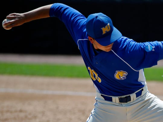 Kyle Melahn of Misericordia University pitches against