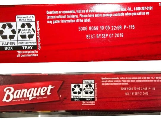 The dinners can be identified by lot code 5006 8069 10 05 and a best by date of September 1, 2019 printed on the packages.