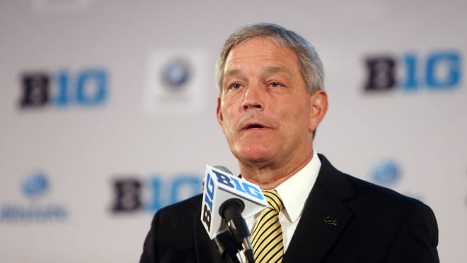 Jul 28, 2014; Chicago, IL, USA; Iowa Hawkeyes head coach Kirk Ferentz  addresses the media during the Big Ten football media day at Hilton Chicago.