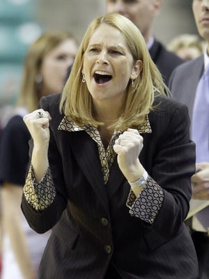 Maryland coach Brenda Frese reacts to a call in the second half of their 66-64 loss to Duke in an NCAA college basketball game in the Atlantic Coast Conference tournament in Greensboro, N.C., Friday, March 5, 2010. (AP Photo/Chuck Burton)