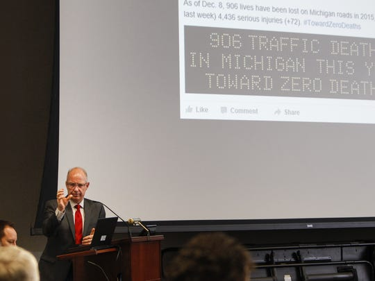 Michigan Department of Transportation Director Kirk Steudle addresses the state Transportation Commissoin members on Dec. 10, 2015 in Lansing.