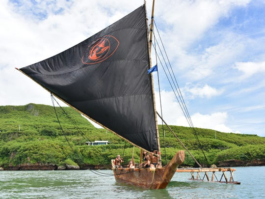 Members of local seafaring group Ulitao, with the help of the Sakman Chamorro crew, sail in Talofofo Bay on Sunday, Sept. 25, as a rehearsal for this weekend's I Fiestan Sahyan Tasi.