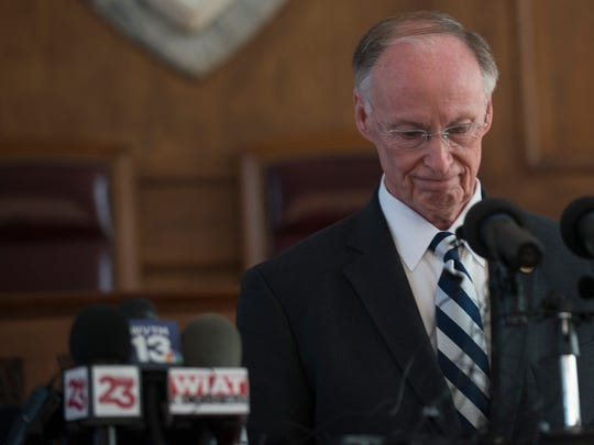 Former Gov. Robert Bentley speaks after officially resigning on April 10, 2017, in Montgomery.