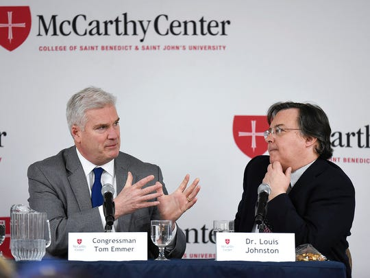 Sixth District Congressman Tom Emmer talks with Louis Johnston, professor of economics at the College of St. Benedict and St. John's University about the first year of President Trump's administration during a panel discussion Wednesday, Jan. 24, at the College of St. Benedict in St. Joseph.