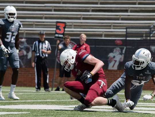 Troy wide receiver Luke Whittemore (83) catches a touchdown