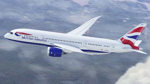 An undated photo of a British Airways Boeing 787 Dreamliner.