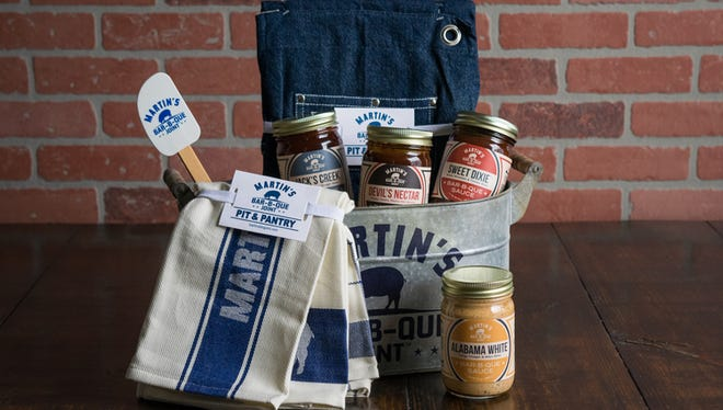 A selection of sauces and other items from Martin's Bar-B-Que Joint.