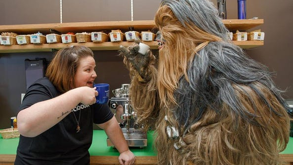 Candace Payne and Chewbacca at Facebook headquarters