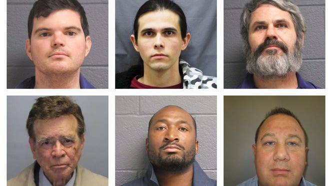 This collage of photos from the Michigan Department of Corrections shows several health professionals convicted of sexually assaulting patients or clients. Pictured is, clockwise from top left, Justin Greenlaw,Joseph Barrett, John Ashby, Brandon Wendt, Daniel Lockett, and Eliezer Monge St. Laurent.