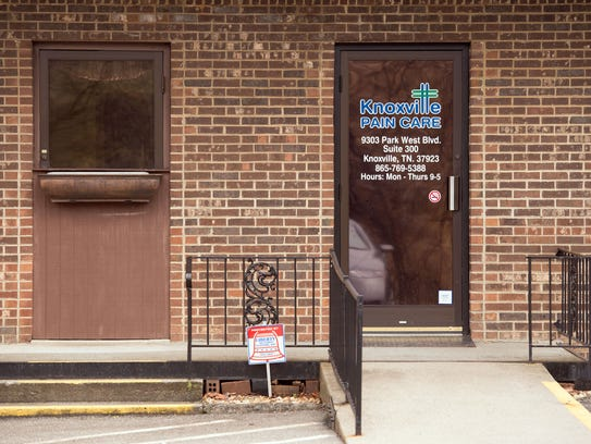 The entrance to Knoxville Pain Care is pictured Wednesday, March 11, 2015, at 9303 Park West Boulevard. The business is one of several pain clinics raided by federal agents as part of a pill-mill investigation that yielded indictments.