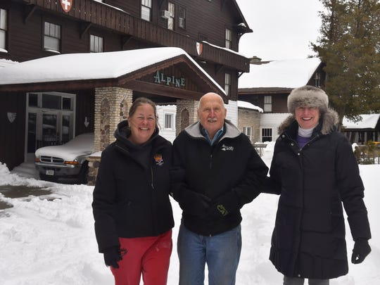 Bill Bertschinger, 90, with daughters Cindy Bertschinger Livingston of Sturgeon Bay, left, and Emily Pitchford of Jacksonport, are selling the family's Alpine Resort and Golf Course in Egg Harbor. The resort includes 30 cottages and 52 rooms along with a 36-hole golf course on 250 acres. Alpine Resort has been family-owned since it opened in 1922. Tina M. Gohr/USA TODAY NETWORK-Wisconsin