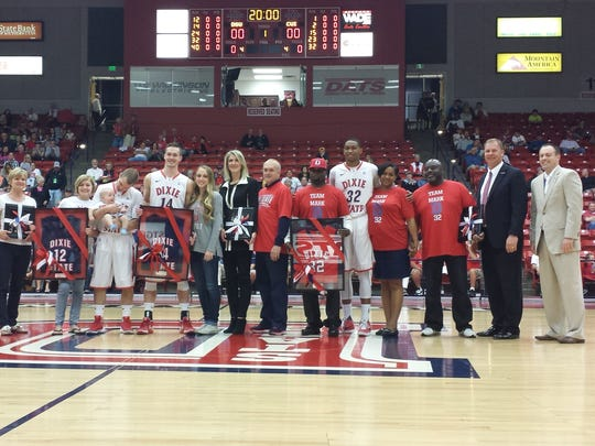 Dixie State seniors Mason Sawyer, Mark Ogden, and Robbie Nielson are honored before the game against Concordia on Senior Night. Ogden will now be playing basketball in Luxembourg after signing a professional contract to play with Racing Luxembourg.