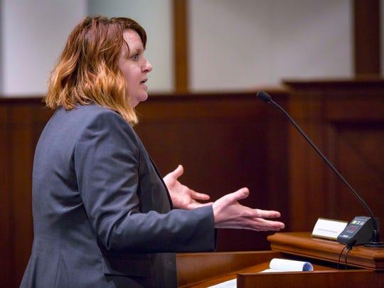 Attorney Michelle Mackel-Wiederanders at the Iowa Supreme