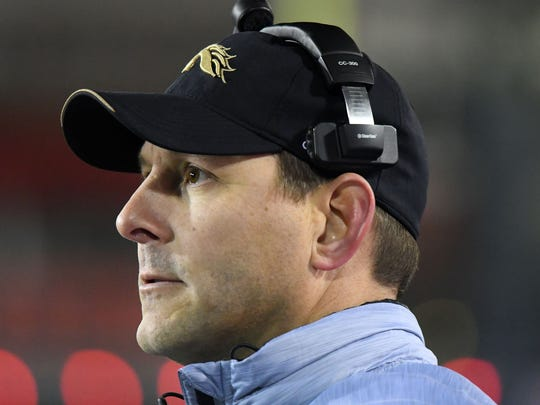 Western Michigan Broncos head coach Tim Lester during the second quarter against the Northern Illinois Huskies at Huskie Stadium.