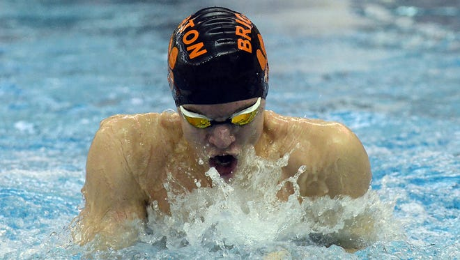 Brighton's Drew Panzl won four events in the KLAA West swimming and diving championships at Milford.