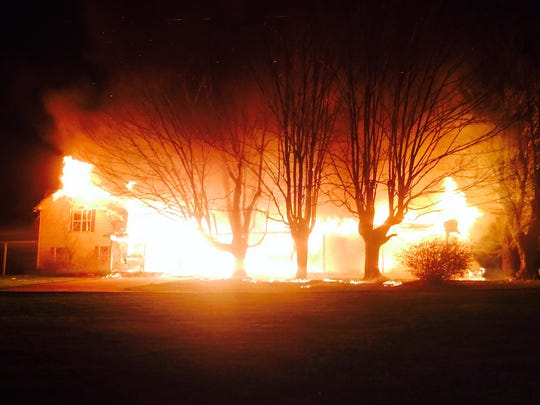 Four local fire departments battled the fire on Keytown Road in Sumner County's Oak Grove community.