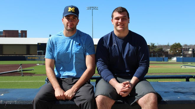 Jack Bredeson, left, is a sophomore right-hander on the Michigan baseball team. Ben is a freshman left guard for the football team.