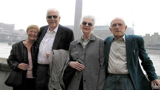 Left to right: Doreen Sapey, Tom Miller, Doris Miller, John Sapey. Tom and Doris Miller, of York County, have been visiting the Sapeys in England for years after Doreen and Doris had become pen pals.